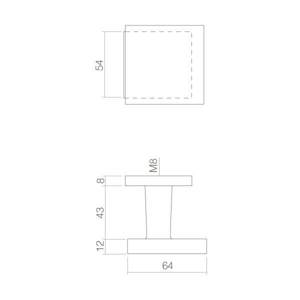 Voordeurknop vast verkropt vierkant mat zwart