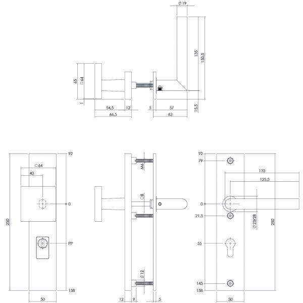 Veiligheidsbeslag kerntrekbeveiliging profielcilindergat rechthoekig mat zwart 55 mm voordeurbeslag