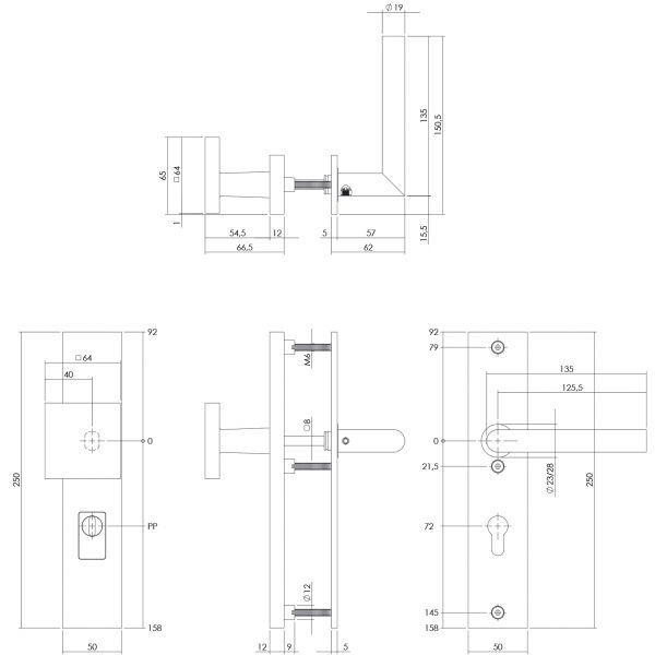 Veiligheidsbeslag kerntrekbeveiliging profielcilindergat rechthoekig mat zwart 72 mm voordeurbeslag