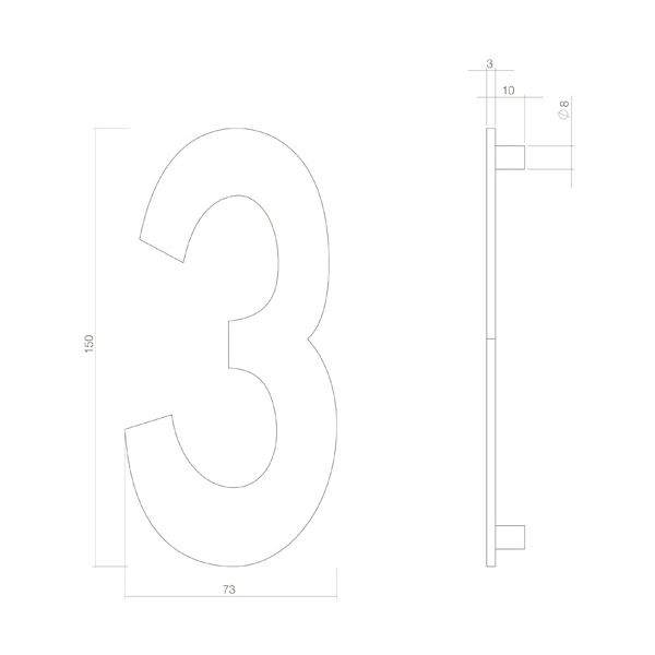 Huisnummer 3 rvs mat zwart
