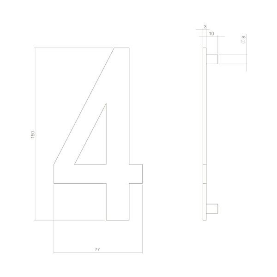 Huisnummer 4 rvs mat zwart