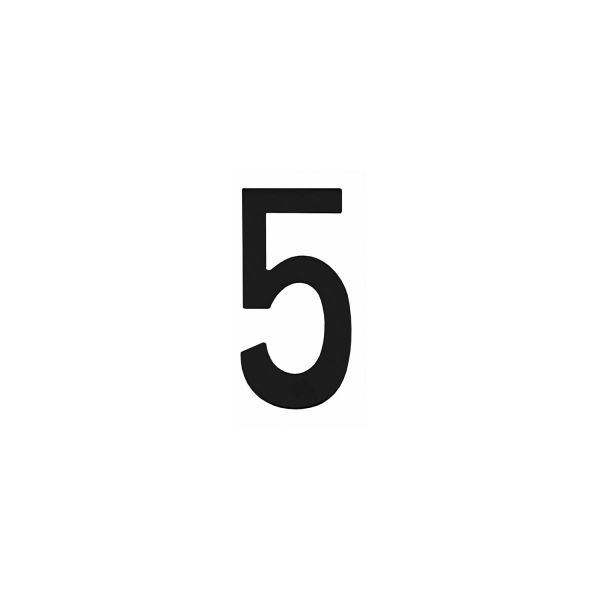 Huisnummer 5 rvs mat zwart