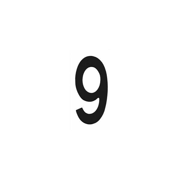 Huisnummer 9 rvs mat zwart