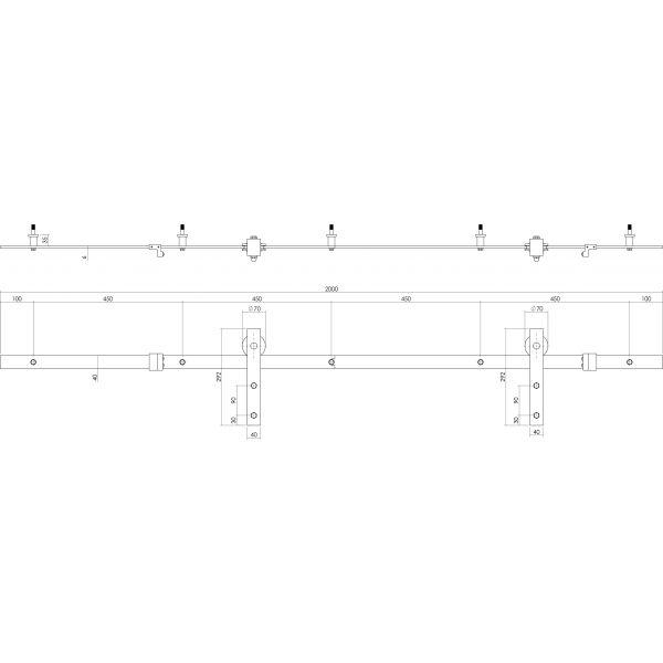 Schuifdeursysteem Basic mat zwart