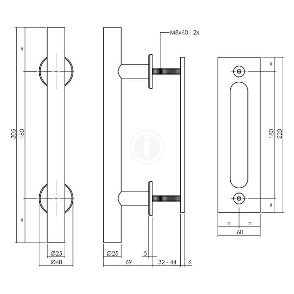 Deurgreep T-model Ø25x305 mm met schuifdeurkom 220x60 mm zwart