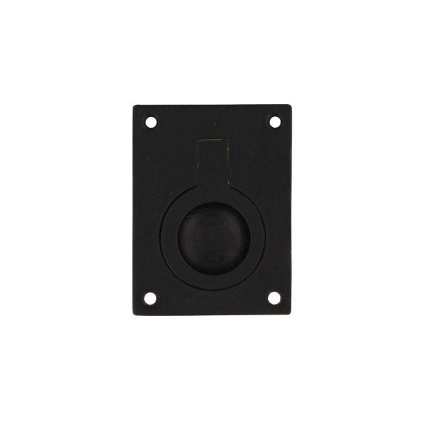 Luikring rechthoekig 50 x 39 mm mat zwart