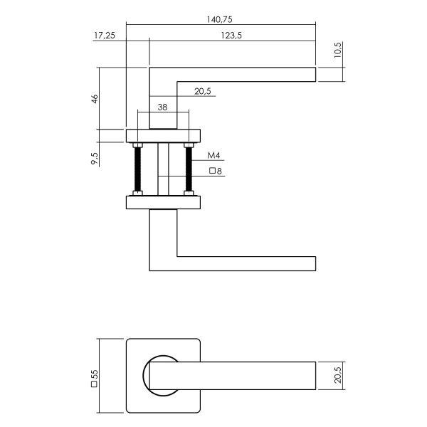 Deurkruk Hera op vierkante rozet 55x55x10 mm antracietgrijs