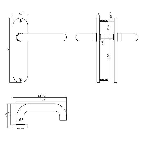 Deurkruk Rond op kortschild toilet-/badkamersluiting 63 mm links rvs geborsteld