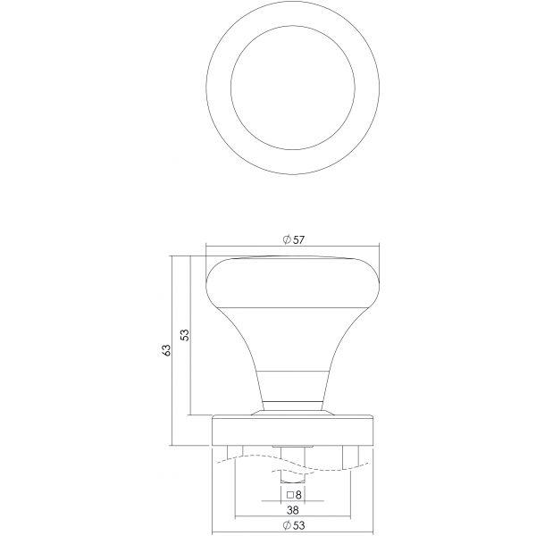 Knopkruk Paddenstoel op rozet met ring rvs geborsteld