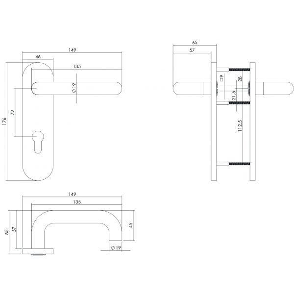 Deurkruk Rond brandvertragend 9mm op kortschild profielcilindergat 72 mm rvs