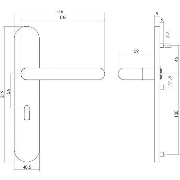 Deurkruk Rond op op schild sleutelgat 56 mm rvs geborsteld