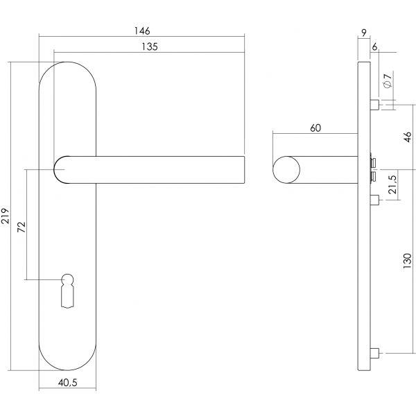 Deurkruk Recht op schild sleutelgat 72 mm rvs geborsteld
