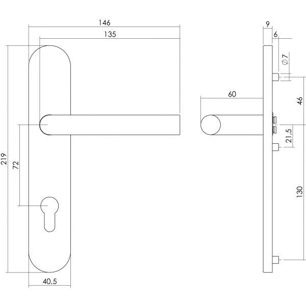 Deurkruk Hoek 90° op op schild profielcilindergat 72 mm rvs geborsteld