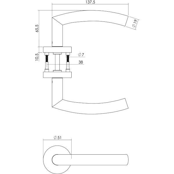 Deurkruk Half Rond met rozet ø51x10,5 mm rvs geborsteld