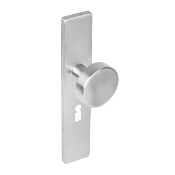 Knop op rechthoekig schild sleutelgat 56 mm rvs geborsteld