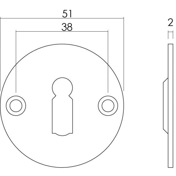 Rozet rond plat 50 mm sleutelgat plat rvs geborsteld