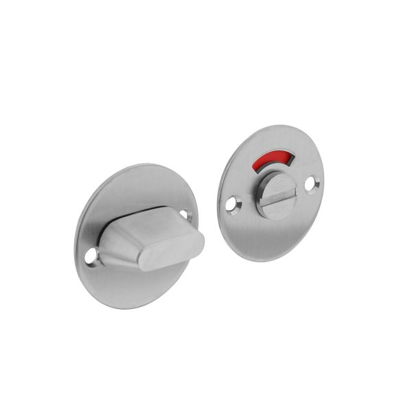 Rozet rond plat 50 mm toilet-/badkamersluiting met 8 mm stift rvs geborsteld