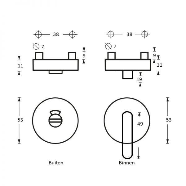Rozet toilet-/badkamersluiting Nobile rond rvs geborsteld 8 mm
