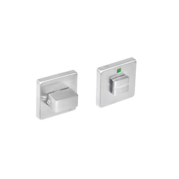 Rozet vierkant met toilet-/badkamersluiting rvs geborsteld 8 mm