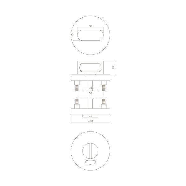 Rozet rond 55 mm met toilet-/badkamersluiting 8 mm rvs geborsteld