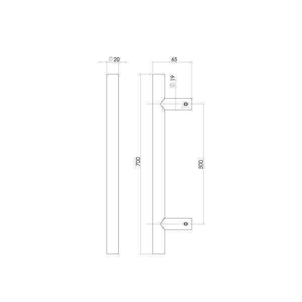 Deurgreep 700 mm T-vorm rvs geborsteld 65 mm