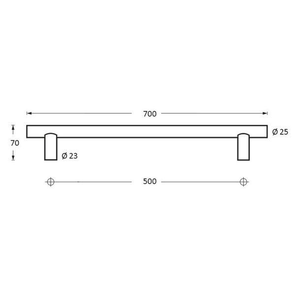 Deurgreep 700 mm T-vorm rvs geborsteld 70 mm