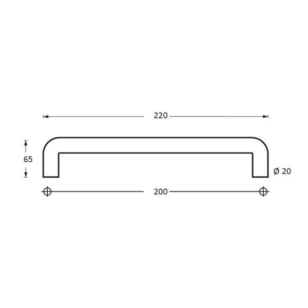 Deurgreep 220 mm U-vorm rvs geborsteld