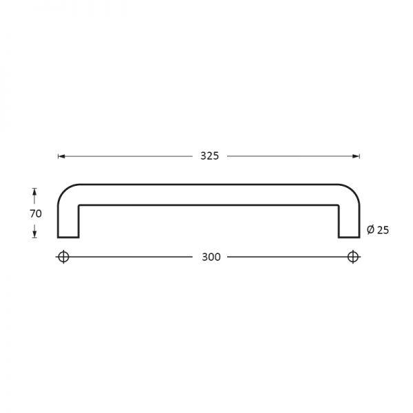 Deurgreep 325 mm U-vorm rvs geborsteld