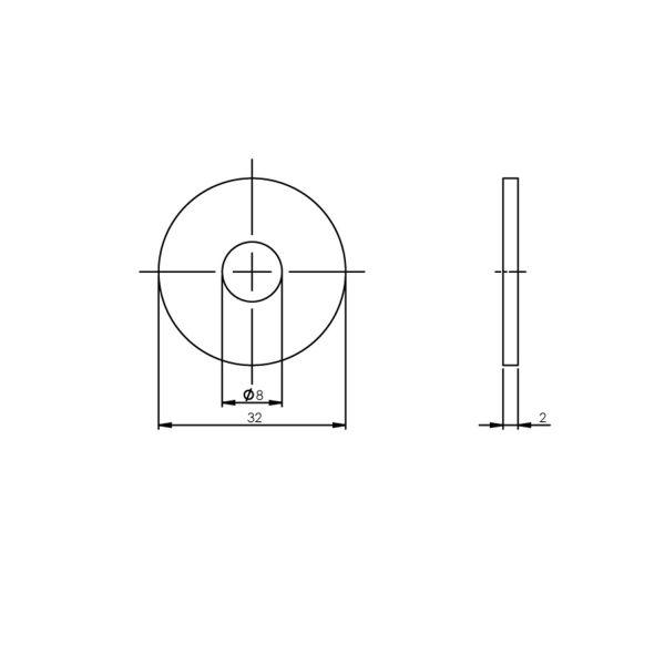 Drukverdeelrozet voor deurgrepen ø 32 mm rvs geborsteld