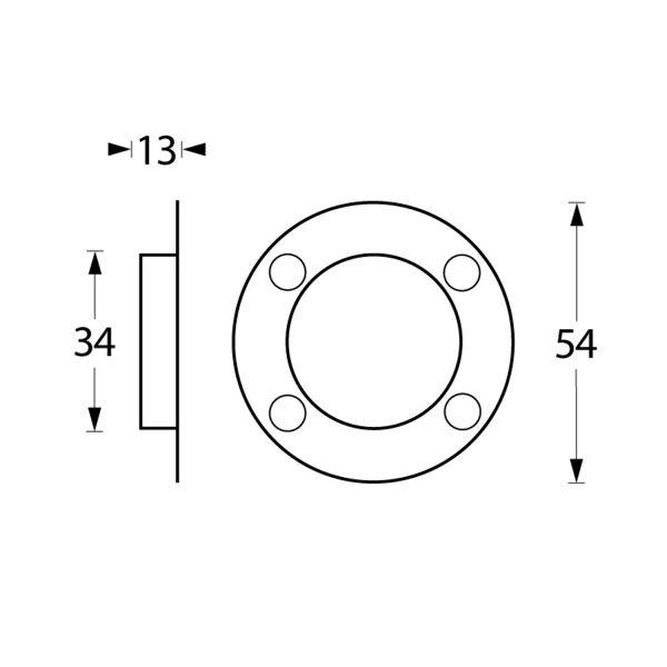 Schuifdeurkom ø34/55 mm met schroefgaten rvs geborsteld