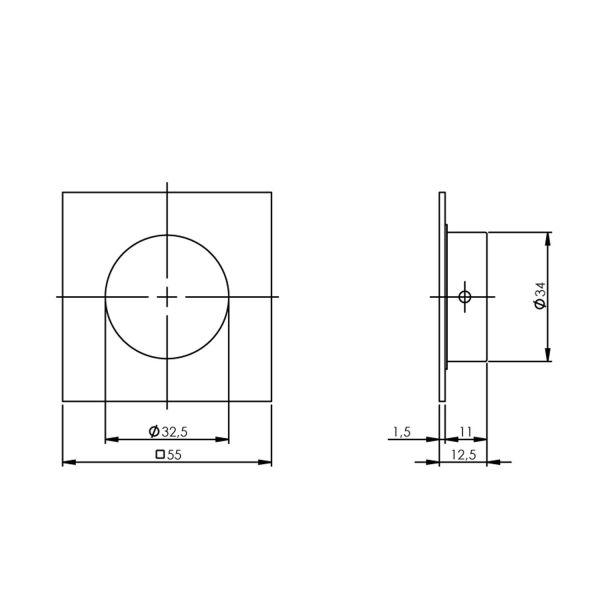 Schuifdeurkom 4-kant 34/55 mm rvs geborsteld