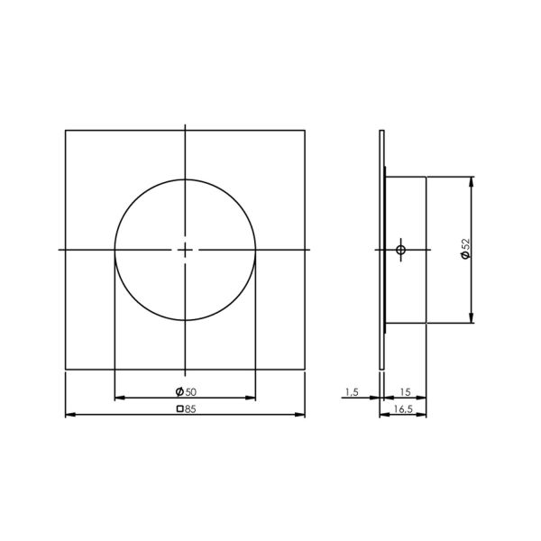 Schuifdeurkom 4-kant 52/85mm rvs geborsteld