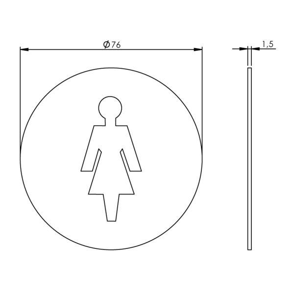 Pictogram damestoilet zelfklevend rond rvs geborsteld