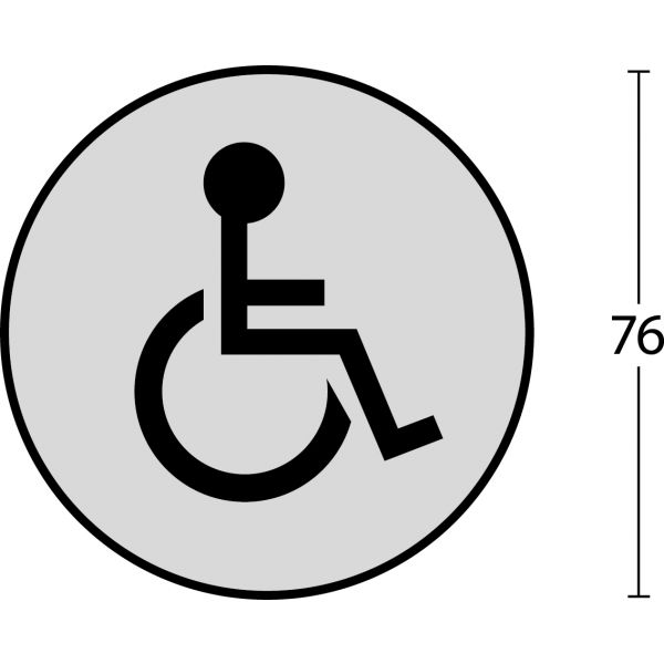 Pictogram toilet mindervalide zelfklevend rond rvs geborsteld
