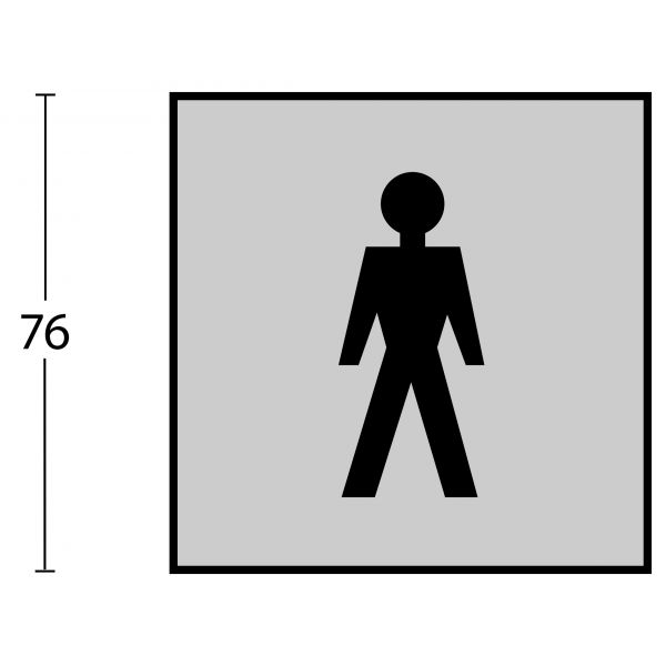 Pictogram herentoilet zelfklevend vierkant rvs geborsteld