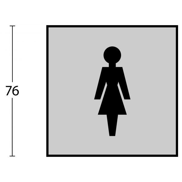 Pictogram damestoilet zelfklevend vierkant rvs geborsteld