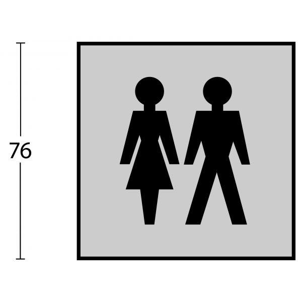Pictogram dames- en herentoilet zelfklevend vierkant rvs geborsteld