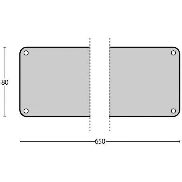 Deurplaat 80 mm x 650 mm rvs geborsteld