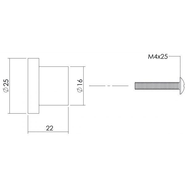 Meubelknop ø 25 mm plat RVS geborsteld