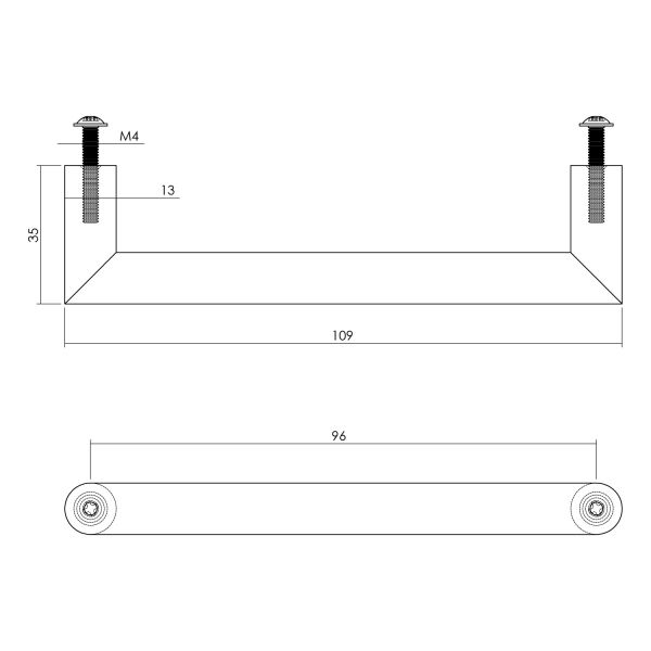 Meubelgreep 108 mm RVS geborsteld
