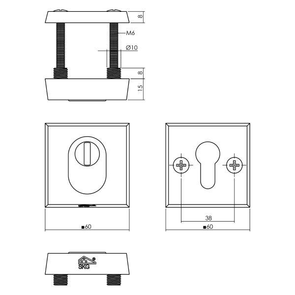Veiligheidsrozet SKG3 vierkant met kerntrekbeveiliging aluminium