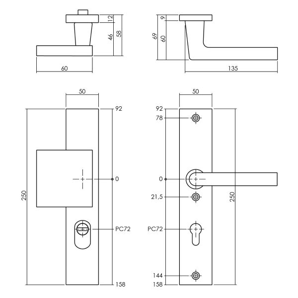 Veiligheidsbeslag met kerntrekbeveiliging SKG3 profielcilinder 72 mm rechthoekig voordeurbeslag