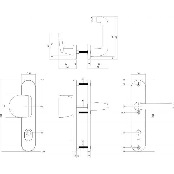Veiligheidsbeslag SKG3 greep/kruk profielcilinder 55 mm met kerntrekbeveiliging