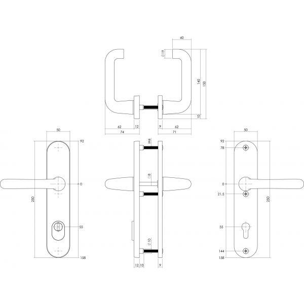 Veiligheidsbeslag SKG3 kruk/kruk profielcilinder 55 mm met kerntrekbeveiliging