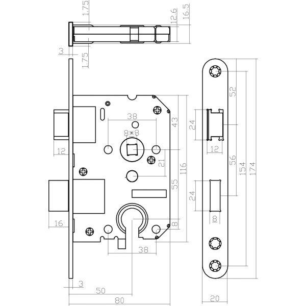 Woningbouw cilinder dag- en nachtslot wit 55 mm