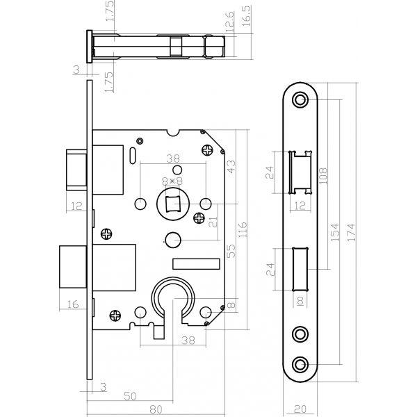 Woningbouw cilinder dag- en nachtslot 55 mm rvs geborsteld