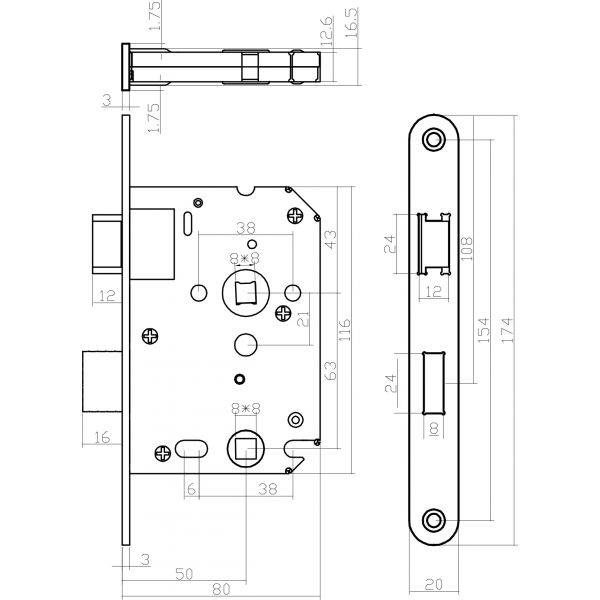 Woningbouw toilet-/badkamerslot 63/8 mm rvs geborsteld