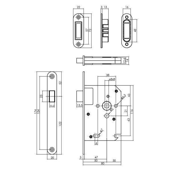 Woningbouw magneet loopslot, voorplaat afgerond rvs