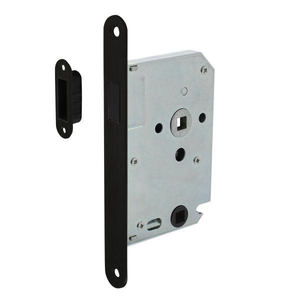 Woningbouw magneet badkamer/toilet slot 63/8mm, voorplaat afgerond zwart